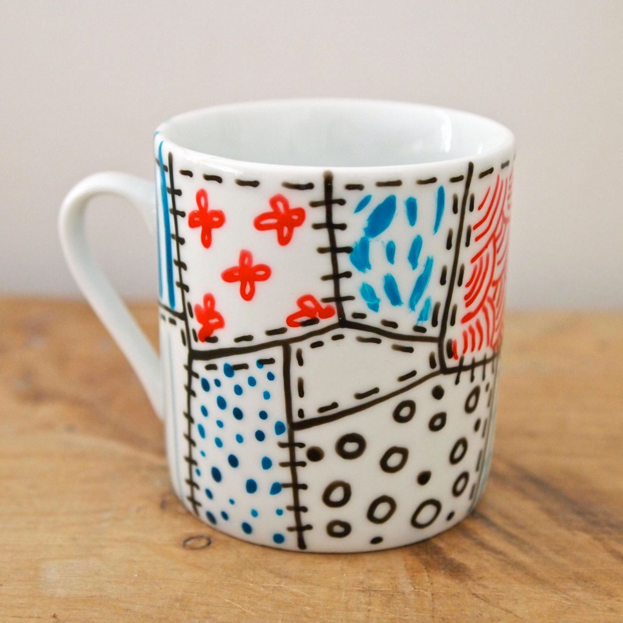 Hand Painted Espresso Cup Mini Mug Patchwork. £7.50, Via