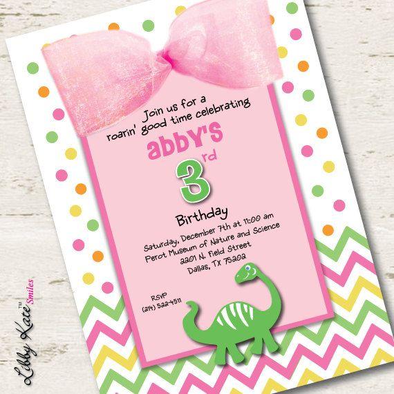 Girl dinosaur birthday invitation pink dinosaur polka dots girl dinosaur birthday invitation pink dinosaur polka dots filmwisefo