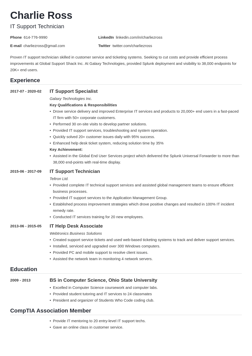 It Support Resume Example Template Nanica Resume Examples Guided Writing Resume