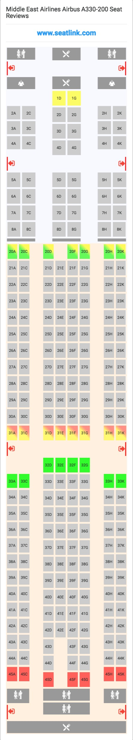 Middle East Airlines Airbus A330 200 332 Seat Map Airbus A321 Seating Chart Middle East Airlines Airbus