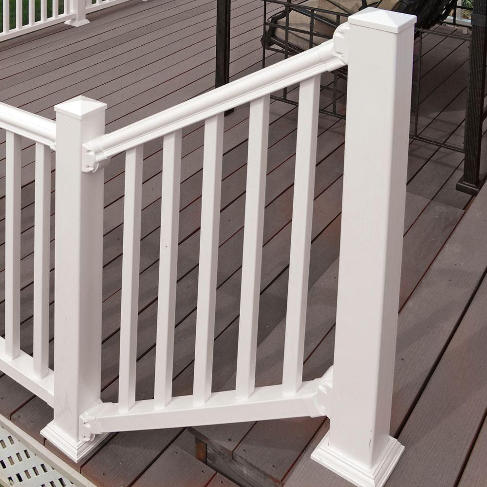 Best Veranda Traditional 6 Ft X 36 In White Polycomposite Stair Rail Kit Without Brackets 73003988 400 x 300