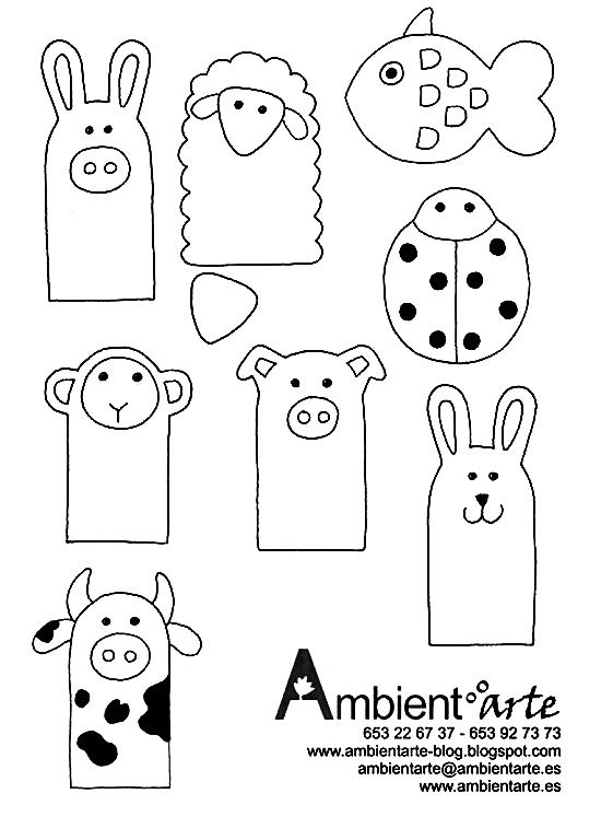 SEWING PATTERNS OF ANIMAL FINGER PUPPETS from Ambient Arte
