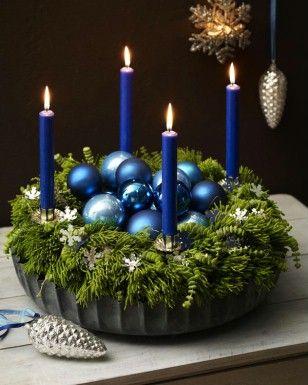 Adventskranz blau-DIY