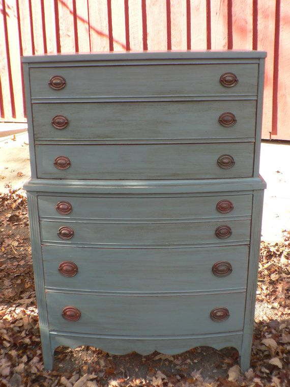 Vintage Antique Federal Style Dresser Tall Chest On Bureau Blue Gray