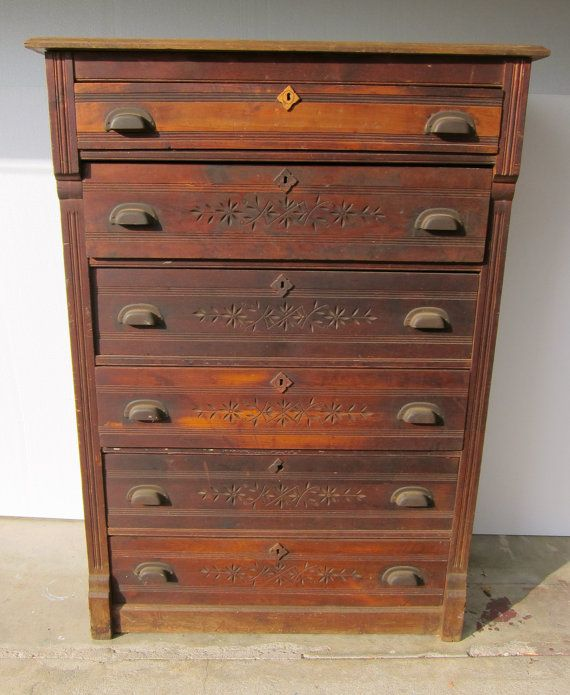 Best Antique Eastlake Chest Of Drawers Six By 400 x 300
