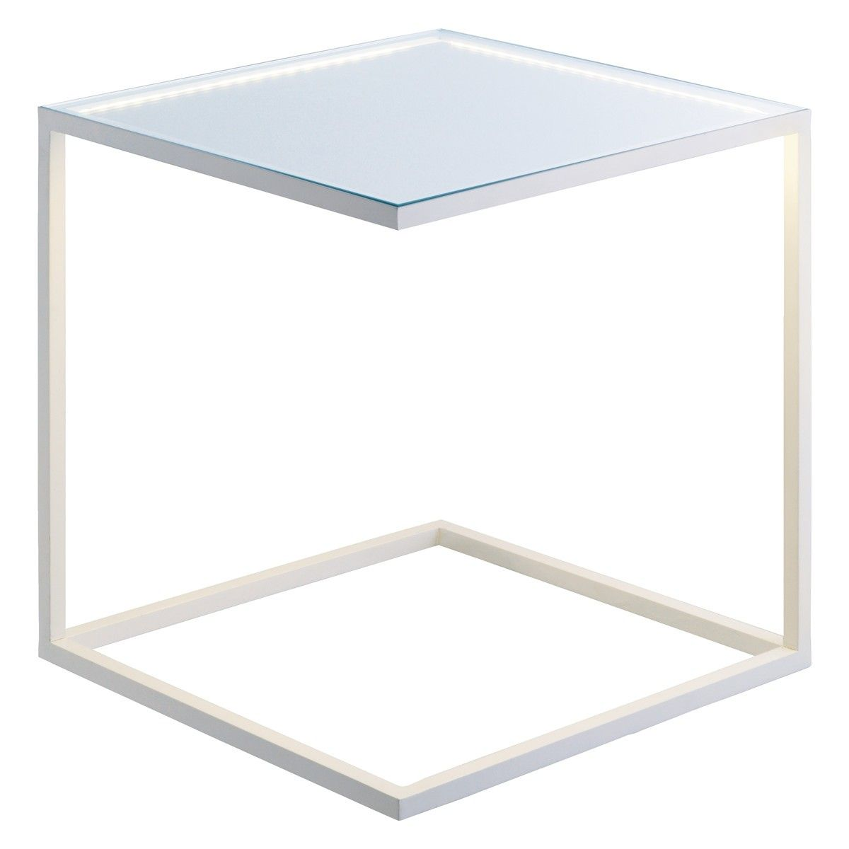 Habitat Lit Rudy White Metal And Glass Led Under Lit Table Buy Now At