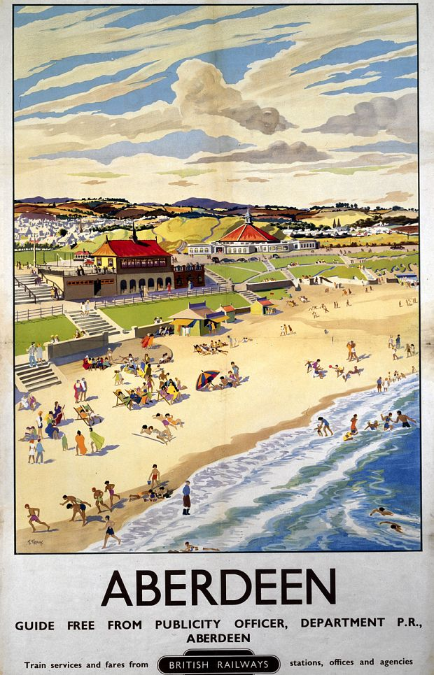 Aberdeen 7 The Silver City By The Sea Railway Photo Retro Vintage Old Poster