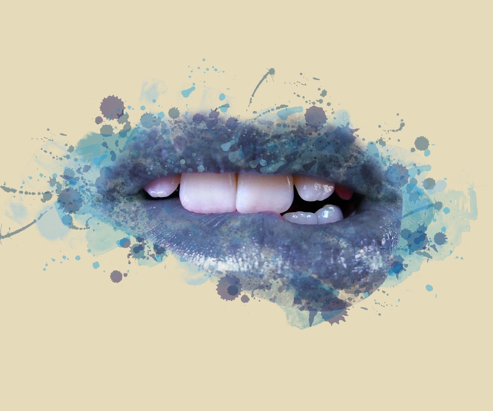 Stop Cheek and Lip Biting Lip design art, Acrylic wall