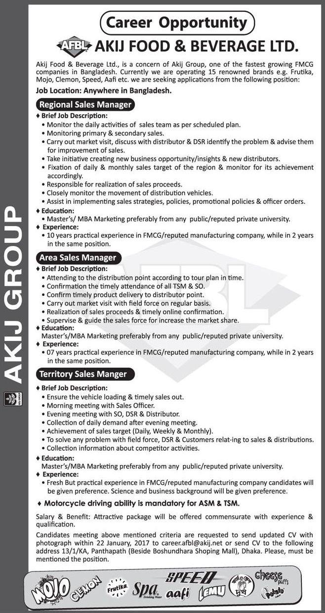 Sales/Marketing Akij Food & Beverage Ltd Job Circular   Job Circular ...
