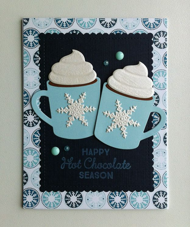 """card winter christmas cup cups mug mugs MFT hot cocoa cups Die-namics - IO snowflake Impression Obsession - MFT mini scalopped rectangle Die-namics - Echo Park  """"Hello Winter"""" collection paper pad #mftstamps Hug in a Mug - christmas cup card #EchoParkPaper - enamel drops - JKE"""