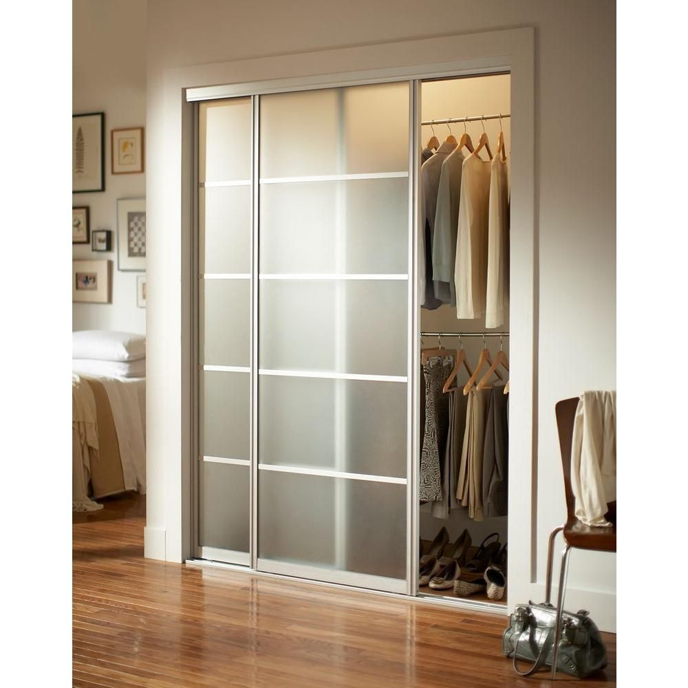 Delightful Contractors Wardrobe 72 In. X 96 In. Silhouette 5 Lite Aluminum Brushed  Nickel Interior Bypass Sliding Door SI5 7296BN2R   The Home Depot