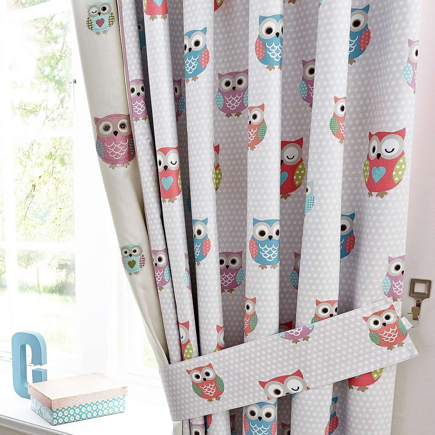 Kids pretty owls blackout pencil pleat curtains dunelm - Childrens bedroom blackout curtains ...