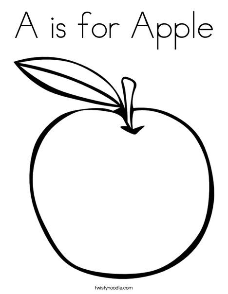 A Is For Apple Coloring Page D Nealian Twisty Noodle Apple