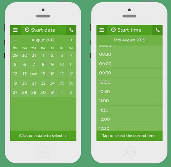 Well Groomed Vibrant Calendar Widget Designs For Mobile Apps
