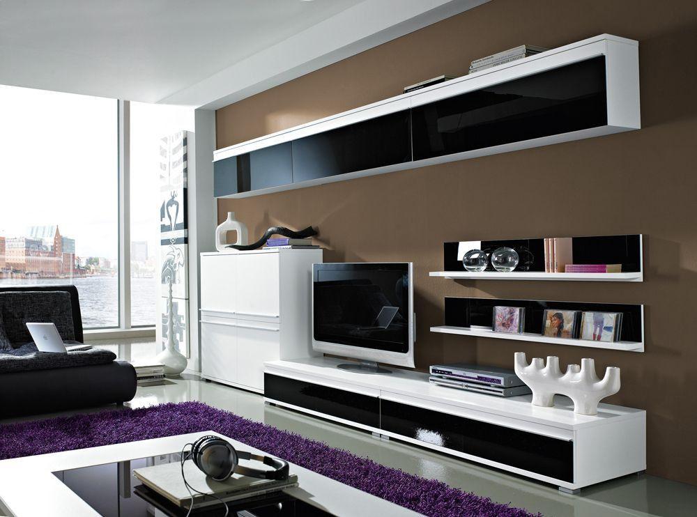 Wohnzimmerschrank Schwarz ~ Tory wohnwand weiß hochglanz abs schwarz wohnzimmer