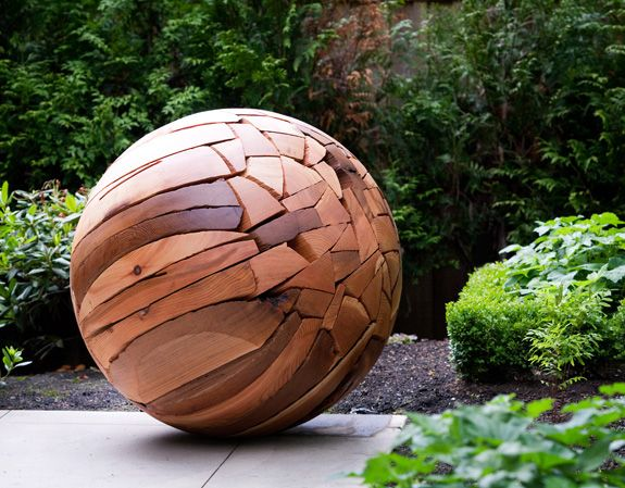 "Shattered Sphere. Brent Comber. Western Red Cedar. 35"" x 44""  Photograph: Carrie Marshal"