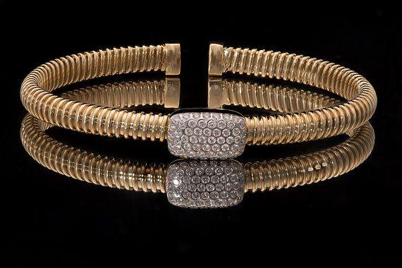 18k Yellow Gold Cuff Bracelet 0 45 ct Diamonds Flexible bracelet