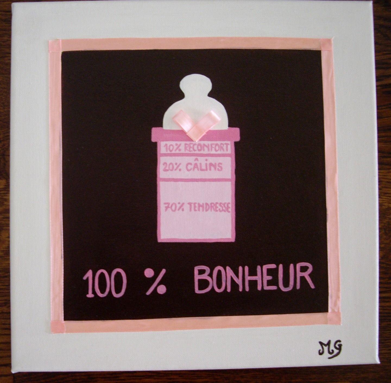 Tableau pour chambre de bébé de petite fille rose et marron