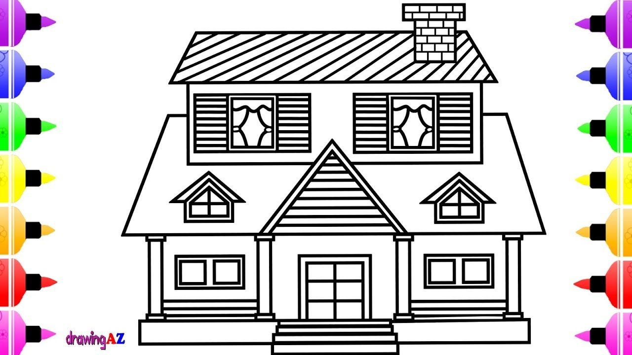 How To Draw House For Kids And Art Coloring Book With Colored