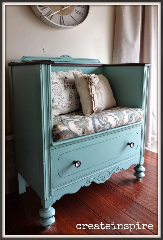 Ideas : Dresser Makeover - a dresser was repurposed and used as a bench by removing the top and two drawers, painted and distressed. This is such a great look!