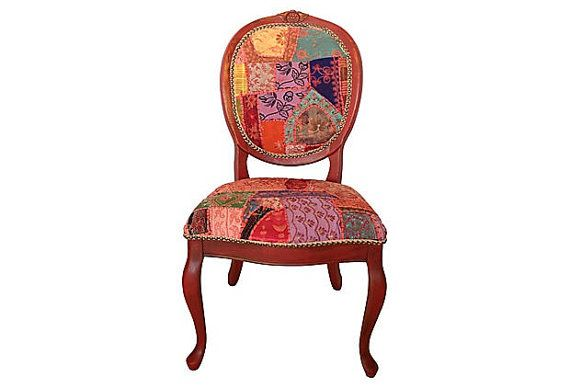 Patchwork Chair French Eclectic Bohemian Boho By
