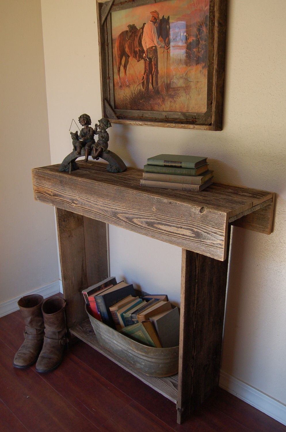 Reclaimed Wood Console Table. Entry Table. Country Western. Farm House Table.  Countryside