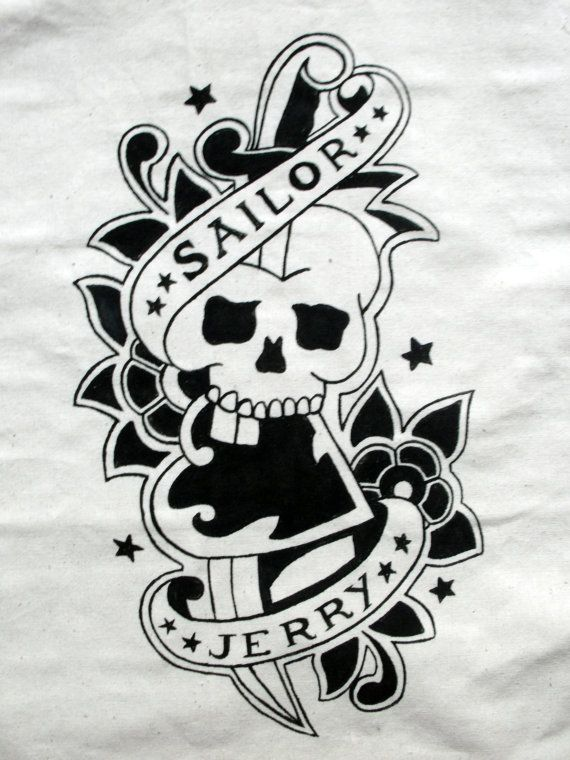 Hand Painted Sailor Jerry Nautical Skull and by handmaderaspberry, $19.00