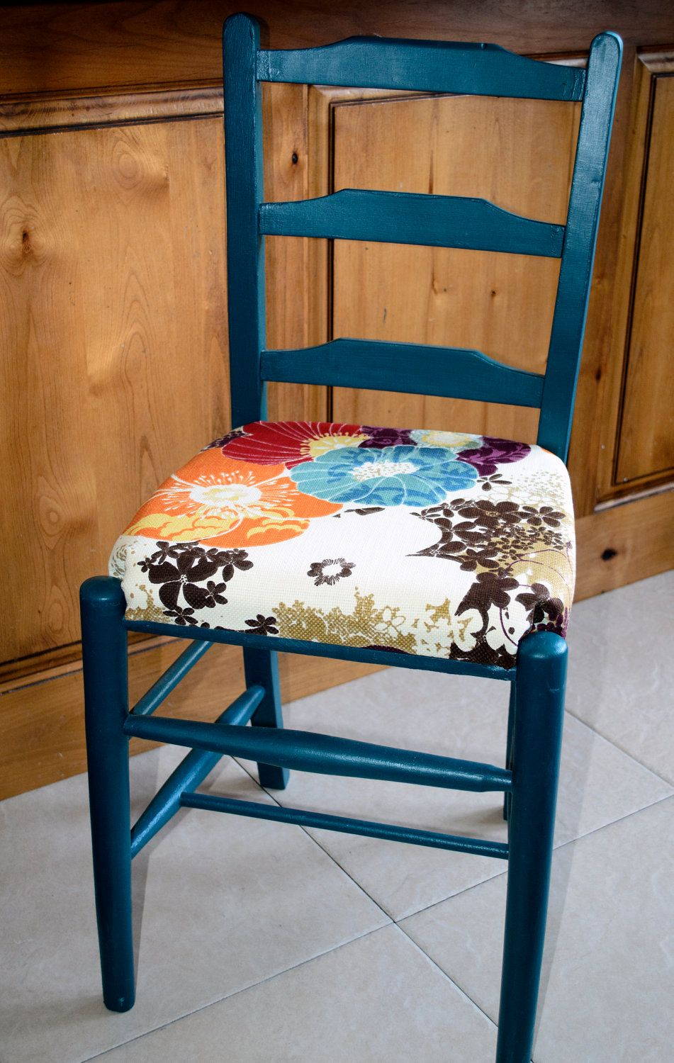 Ladder Back Chair With Floral Seat Cushion