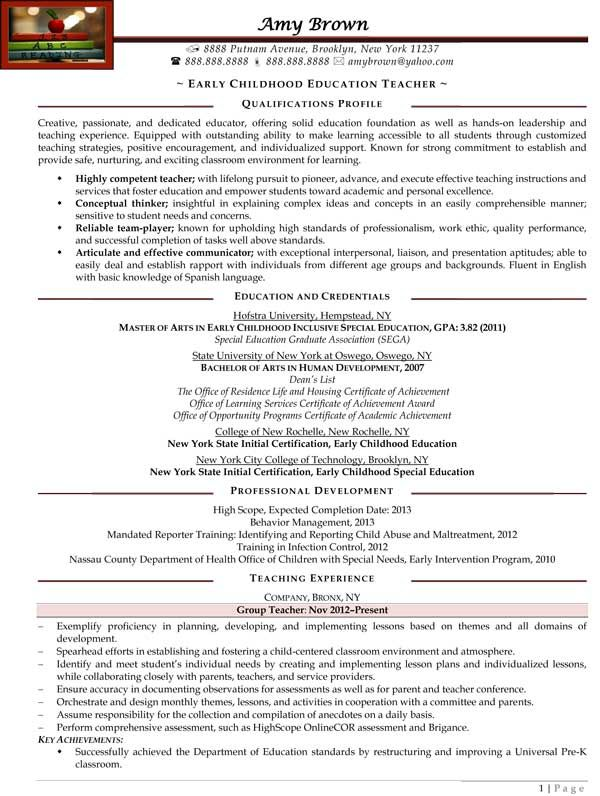 Early Childhood Education Teacher Resume Sample Samples Throughout