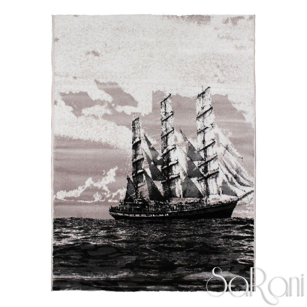 Dettagli su Tappeto Art Moderno Pelo Corto Nave Nero