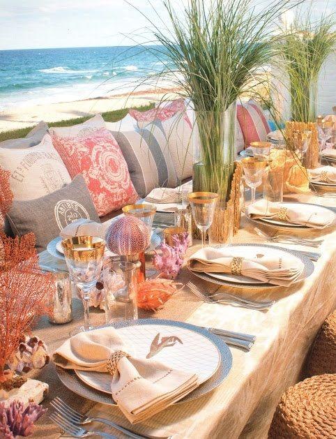 35 Romantic Beach Wedding Table Settings | Weddingomania | Wedding ...