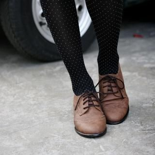 Oxford flats with tights