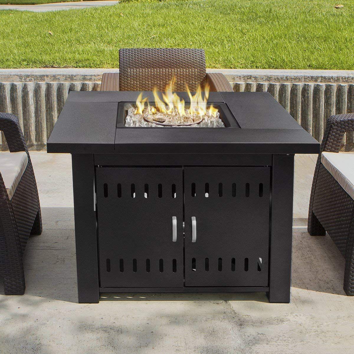 Xtremepowerus Out Door Patio Heaters Lpg Propane Fire Pit Table Black Propane Fire Pit Table Fire Pit Table Patio Heater