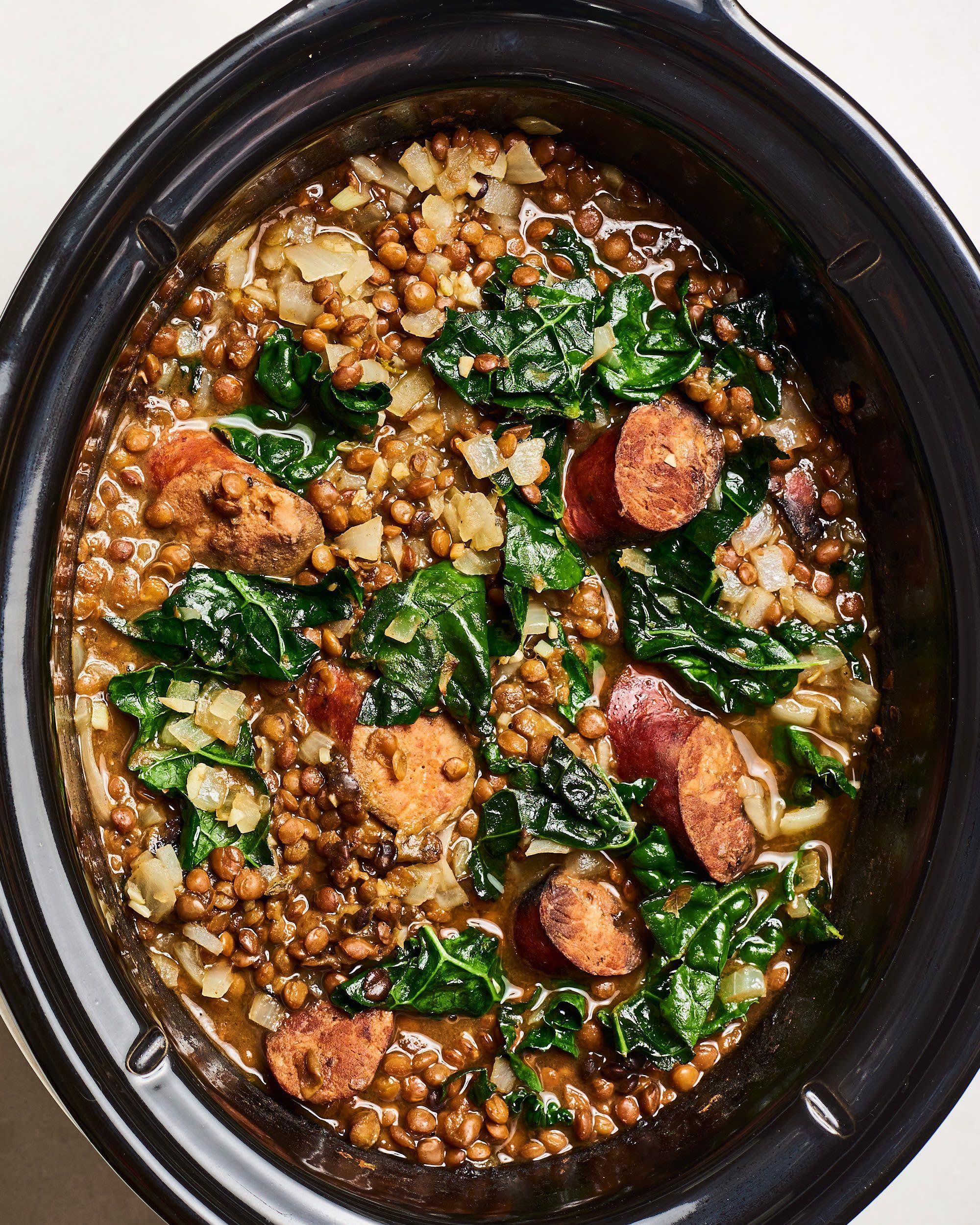 Sausage and Lentil Soup #meltingpotrecipes