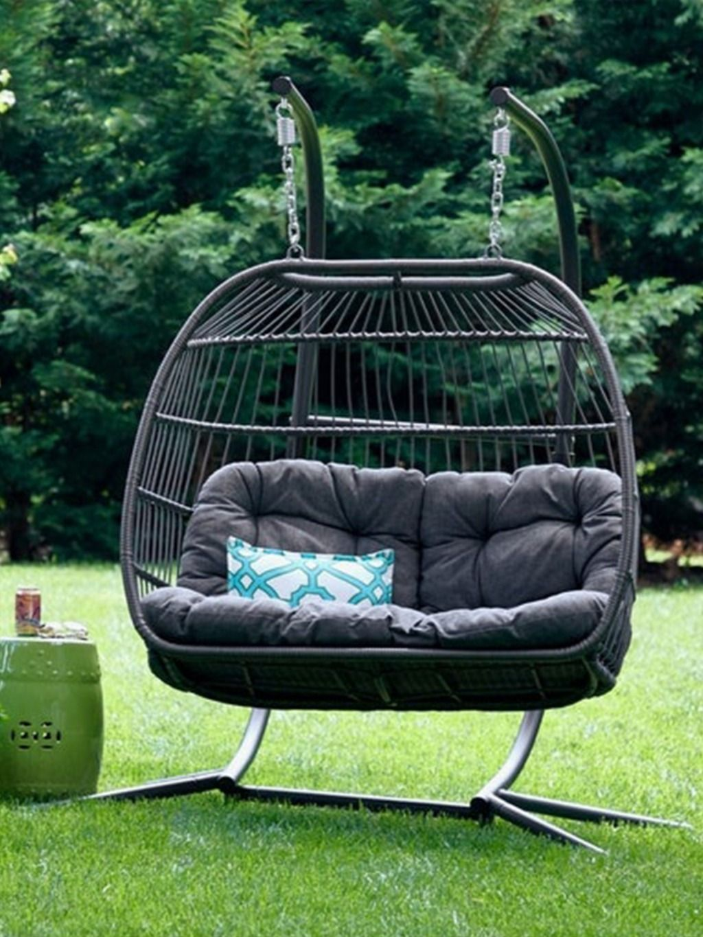 Luxury 2 Person Double Outdoor Patio Hanging Egg Swing Chair In 2020 Egg Swing Chair Patio Furniture Deals Hanging Chair