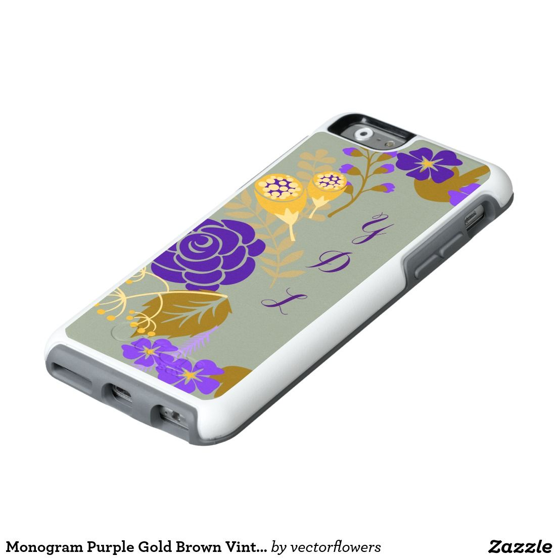 Monogram purple gold brown vintage floral pattern otterbox