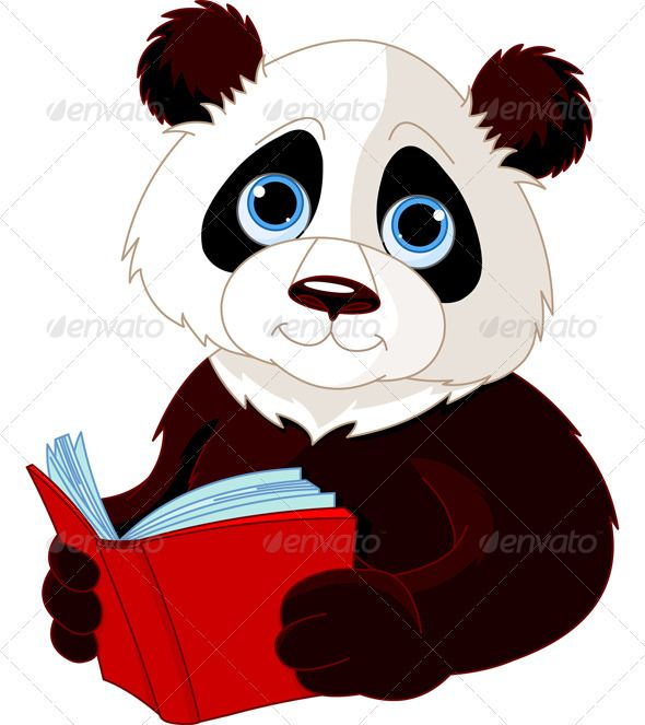 Panda Reading A Book Panda Illustration Panda Images