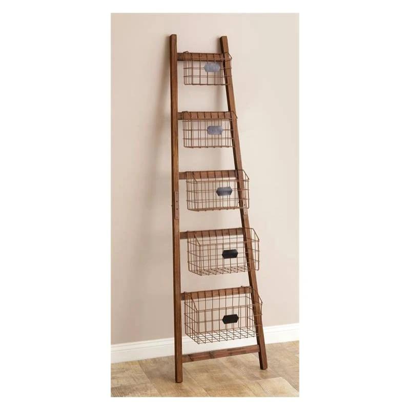 Ladder Shelf With Wire Baskets 8w1988 Baubles N Bling In 2020 Ladder Shelf Wire Baskets Ladder Shelf Decor