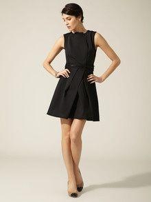 Vera Wang Lavender Label Woven Stretch Gabardine Beaded Trim Dress