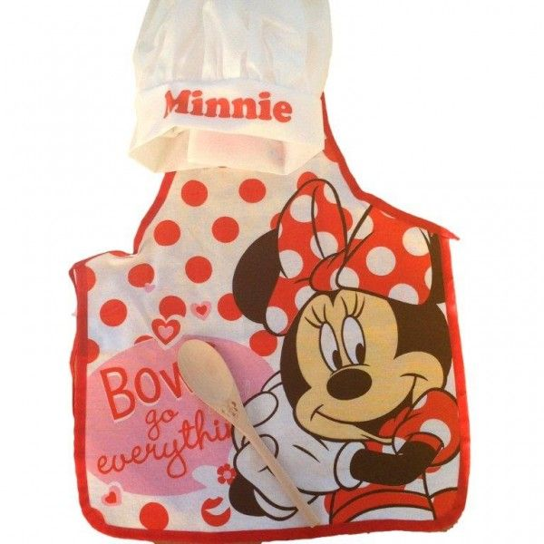 Grembiule Cucina Minnie.Disney Minnie Set Piccola Cuoca Grembiule Cappellino