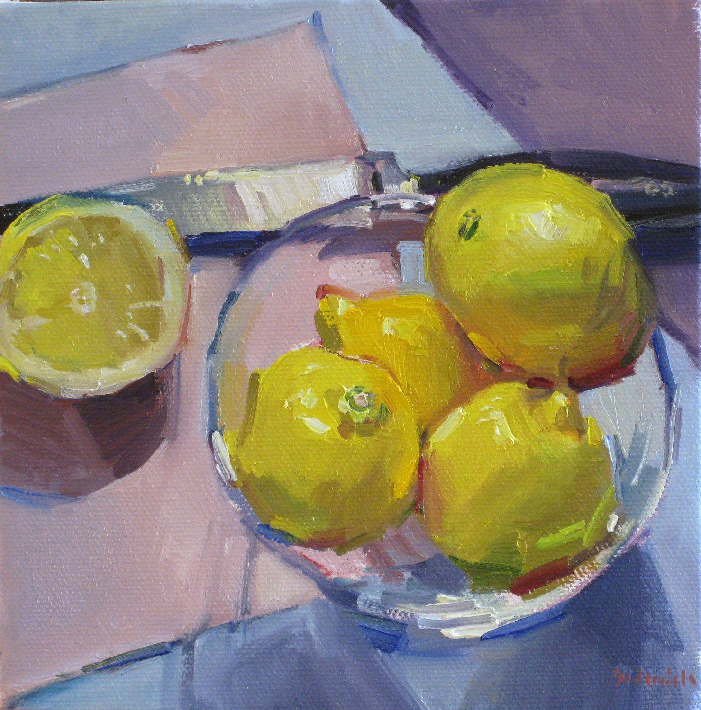 """Framed art painting original oil """"Zest for Life"""" lemon kitchen"""