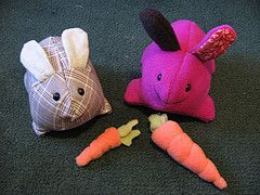 Rabbit Stuffies - Pattern on this page:  http://kwoozy.blogspot.com/2006/05/kwoozy-rabbit-and-carrot-pattern.html