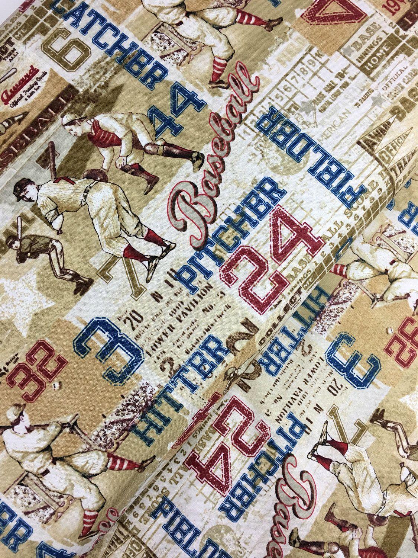 TAN PLAY BALL AMERICAN PASTIME BASEBALL FABRIC From Benartex Fabrics NEW