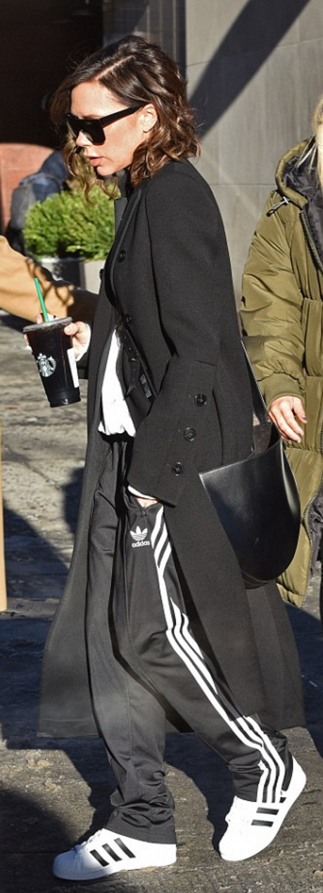 Victoria Beckham in Sunglasses, coat, and purse – Victoria Beckham  Collection Shoes and pants