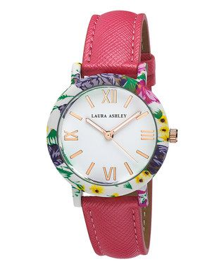 Accents in Full Bloom | Laura Ashley Pink & Jewel-Tone Floral Strap Watch | Zulily event ends 2/10/16