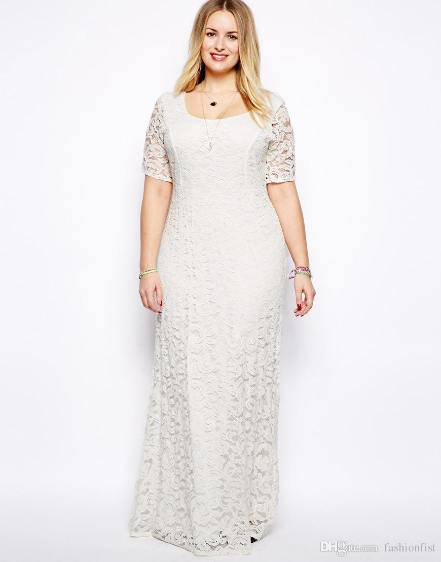d315c40b4f51 2015 Women Plus Size Lace Dresses Short Sleeves Long Party Evening Gown  Oversize Dresses 2XL -- 9XL