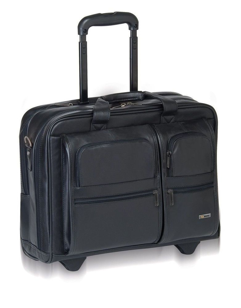 solo 15 4 rolling leather laptop case computer bag on wheels business traveling leather. Black Bedroom Furniture Sets. Home Design Ideas