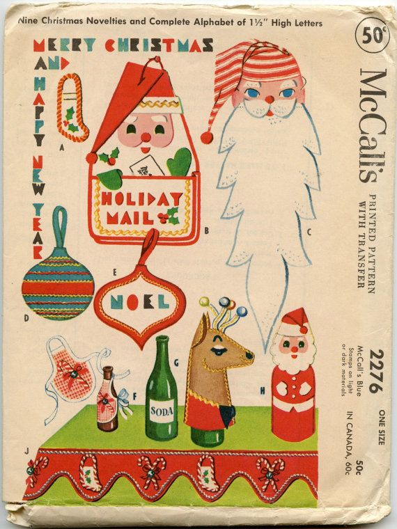 1950s Christmas Craft Pattern Mccall S 2276 Felt Christmas Novelties Ornaments Santa Mask Reindeer Bottle Cover Stocking Holiday Valance In 2020 Christmas Sewing Patterns Vintage Christmas Christmas Sewing