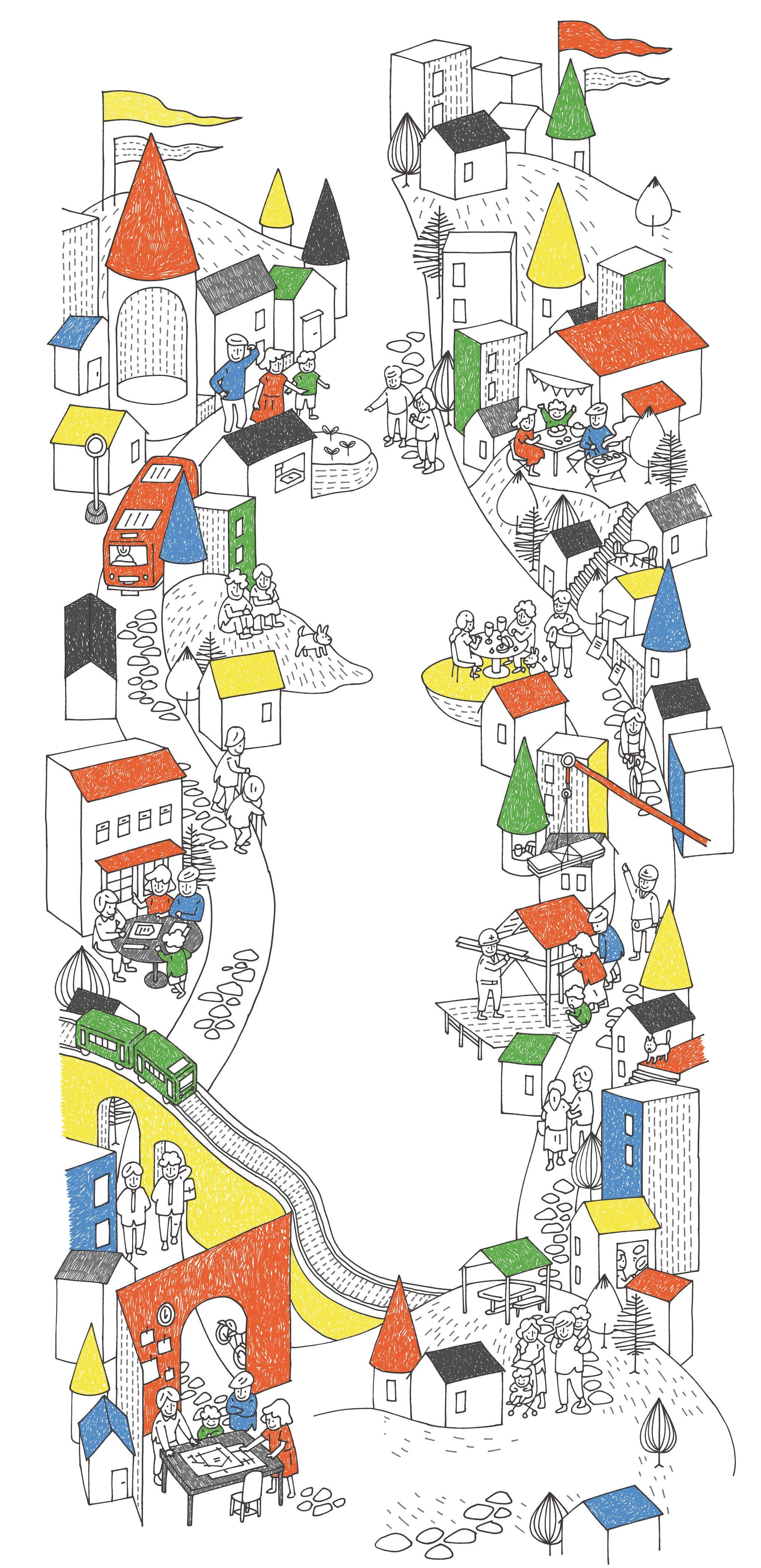 ケンチクイラストレーター イスナデザイン 月刊housing 街 建築