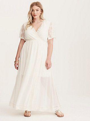 Plus Size Torrid Insider Lace Crochet Chiffon Maxi Dress Egret Plus Size Maxi Dresses Maxi Dress Dresses